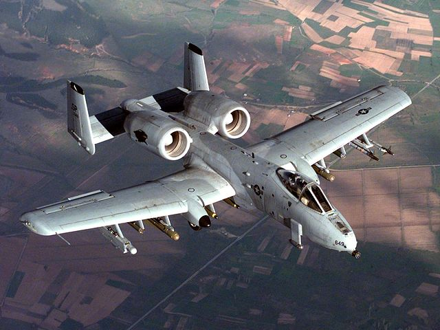 A U.S. Air Force A-10A Warthog in flight during a NATO Operation Allied Force (Kosovo) combat mission, Apr. 22, 1999.