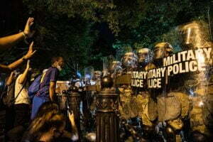 George Floyd protests in Washington DC. H St. Lafayette Square.